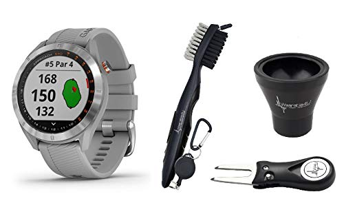 Garmin Approach S40 GPS Golf Smartwatch with Included Wearable4U Golf Tools Kit Bundle Stainless Steel with Powder Gray Band