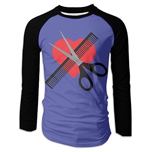 Scissors & Comb & Heart Haircut Men's Raglan Baseball T-Shirts Long Sleeve Baseball Tees - Sunglasses Uk Versace