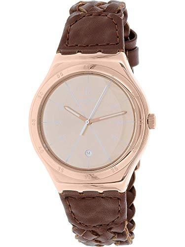 Swatch Men's Irony YWG402 Brown Leather Swiss Quartz Watch