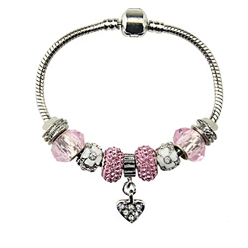 Silver Plated Heart Charm Bracelet with Charms for Pandora Bracelets for Teen Girls Children Jewellery Christmas Birthday Gifts Ideas 18 cm Pink High Shine Cubic - Sale Jewellery Tiffany