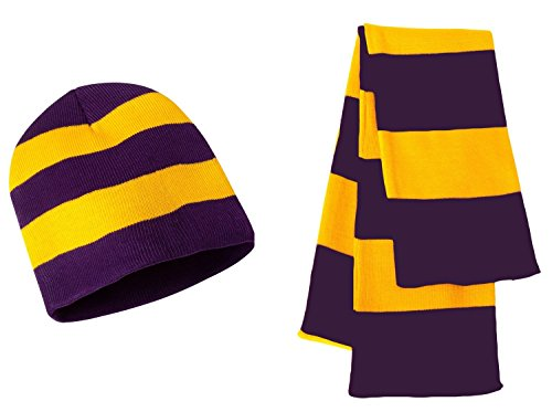 y Stripe Winter Scarf & Beanie Hat Set - Assorted Colors, Purple/Gold ()
