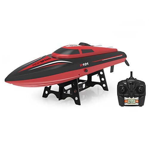 SZJJX RC Boat 2.4GHz 4 Channels Remote Control Electric Racing Boat 30KM/H High Speed Automatically 180 Degree Flipping Transmitter with LCD Screen Red