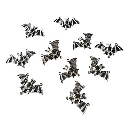 Sumje 20pcs Big Bat Charms Collection - Antique Silver Patina Flying BugBat Spooky Flittermouse Halloween Metal Pendants for Jewelry Making DIY Findings (Bat Style) (Bat Charms Pendants)