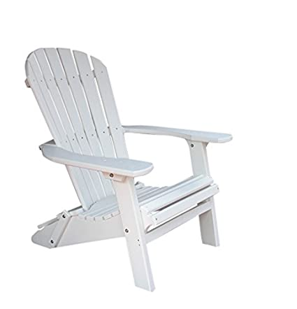 Phat Tommy Recycled Poly Resin Folding Deluxe Adirondack Chair U2013 Durable  And Patio Furniture, White