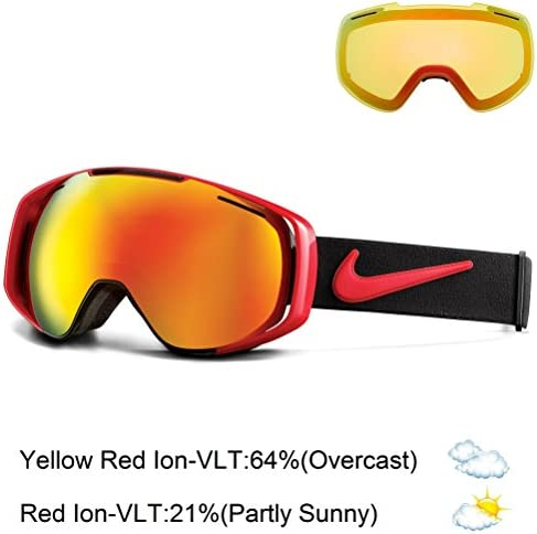 Nike Khyber Goggles, University Red Black Frame, Red Yellow Red Ion Lens
