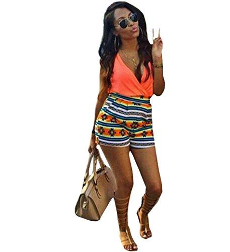 Creazy 2016 Women's V-Neck Floral Print Sleeveless Short Pants Jumpsuit Romper (Orange Jumpsuit Buy)