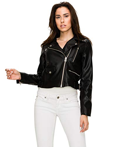 Lock and Love WJC1852 Womens Faux Leather Motorcycle Biker Jacket S Black