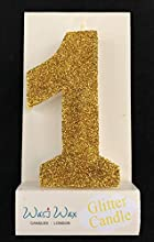 Wasiwax Ultra Sparkle Gold Glitter Birthday Number 1 Candle - Cake Topper - 3.25'' (8.25cm) Nr 1