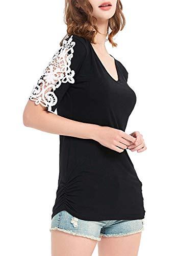 DREAGAL Women's Blouse Tunic Shirts Lace Crochet Short Sleeves Cotton Tops Black2 S