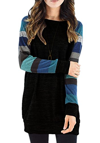Poulax Women's Cotton Knitted Long Sleeve Lightweight Tunic Sweatshirt Tops (XXL=US12-14, New Navy Blue) (Tunic Length Tops To Wear With Leggings)