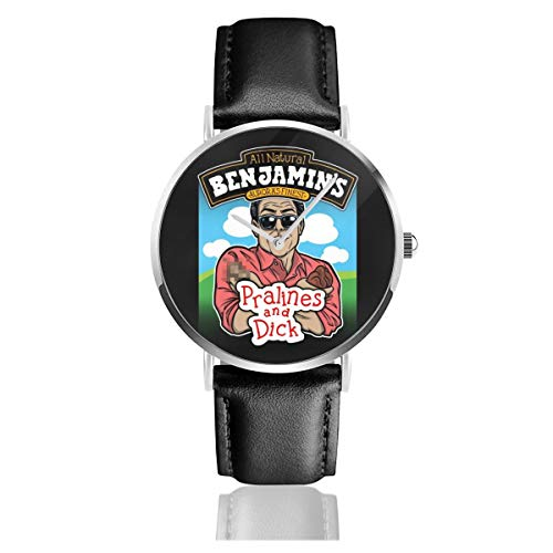 Unisex Business Casual Waynes World Benjamins Praline and Dick Flavour Ice Cream Watches Quartz Leather Watch with Black Leather Band for Men Women Young Collection Gift