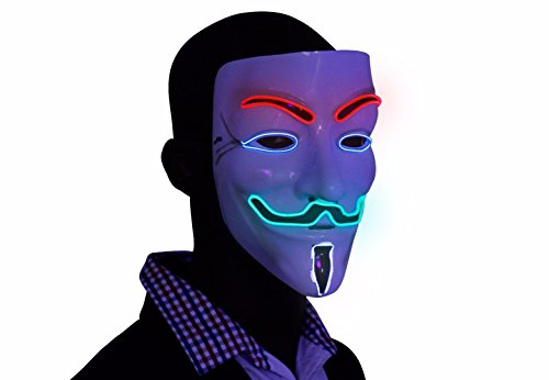 [Multi Color Light Up V For Vendetta Glow EL Wire LED Guy Fawkes Anonymous Mask] (Anonymous Man Costume)