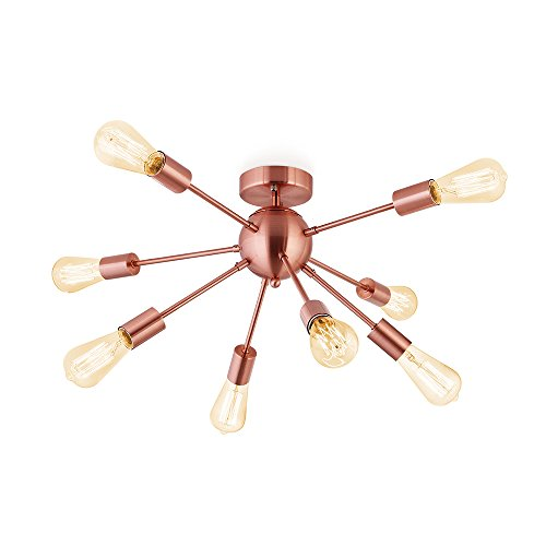 Sputnik Chandelier Antique Brushed Rose Gold with 8-Light Semi Flush Mount Ceiling Light Modern Pendant Lighting Decoration for Dining Room Bed Room Kitchen Bathroom and Hallway by Flyer5