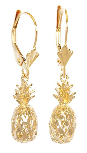 - 14K Solid Yellow Gold Pineapple Leverback Earrings