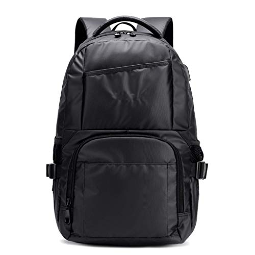 LDX School Bag, Casual Men's Backpack - USB Backpack - Waterproof Student Bag - Fashion Leather Trend Travel Computer Bag,Black