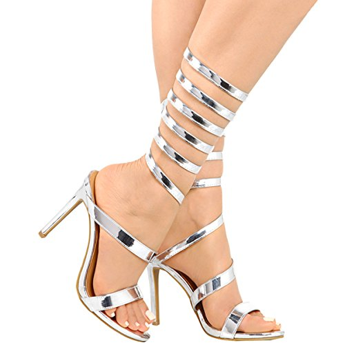 Anne Michelle Mujeres Open Toe Coil Spiral Pierna Wrap Strappy Stiletto Sandalias De Tacón Alto De Plata