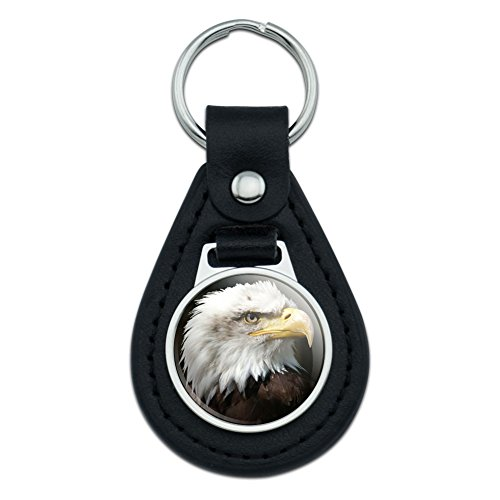 Keychain Eagle Bald (Graphics and More Bald Eagle Face Side View Black Leather Keychain)