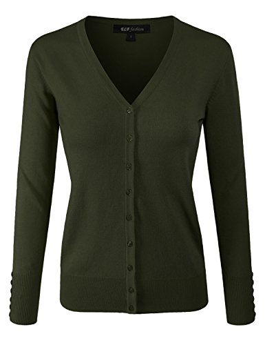ELF FASHION Women Top Long Sleeve Button V-Neck Knit Sweater Cardigan (Size S~3XL) Olive L Green Cotton Cardigan Sweater