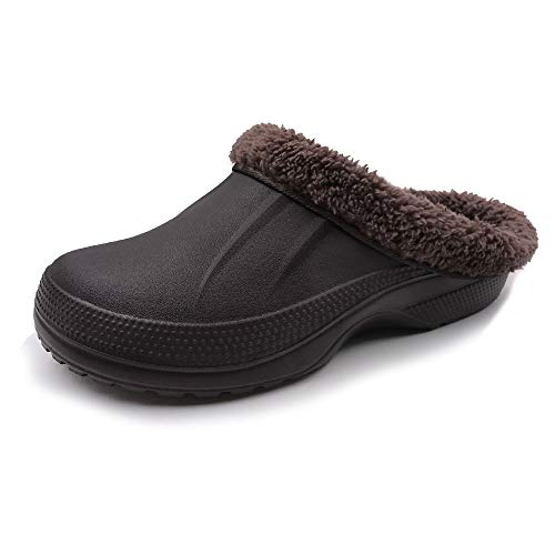 Fur Lining - Amoji Winter Slippers Indoor House Clogs Home Ferry Lined Fleece Mule Men Women Ladies Brown 10-11 US Women/8.5-9.5 US Men