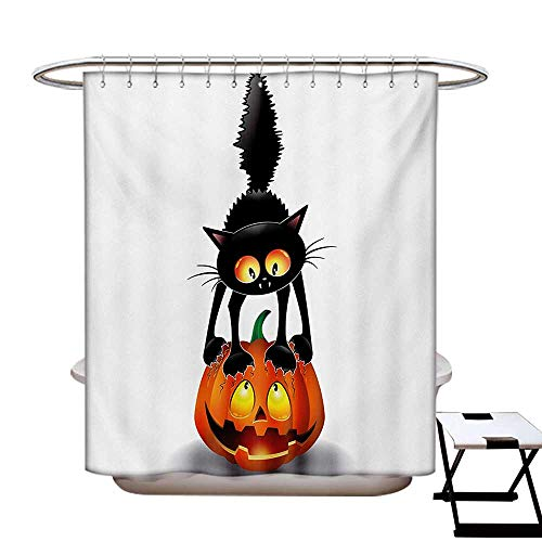 Halloween Shower Curtain Collection by Black Cat on Pumpkin Drawing Spooky Cartoon Characters Halloween Humor Art Patterned Shower Curtain W36 x L72 Orange Black -