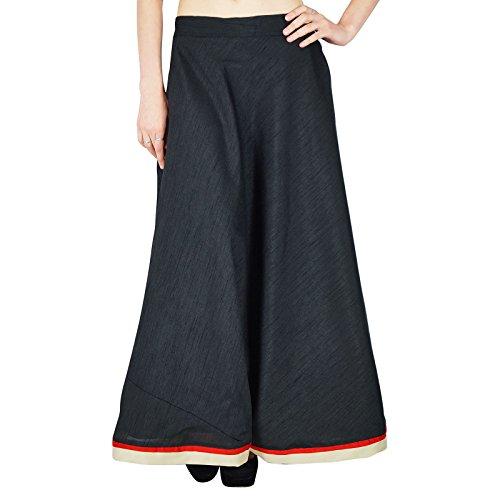 Kokom Women Maxi Hippie Beach Ethnic Dupion Silk Lace Fashion Long Skirt Hippie Silk Skirt