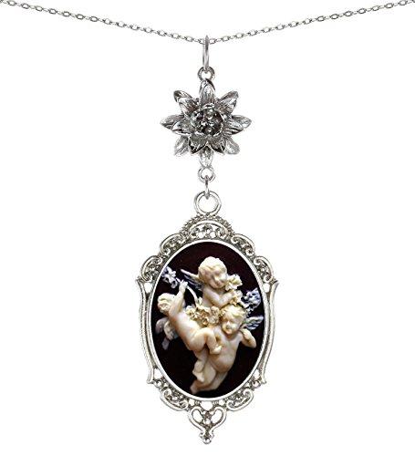 (Yspace Lotus Charm Necklace Antique Decor Cameo Pendant 2 Chains Velvet Pouch for Gift (Cherub) )
