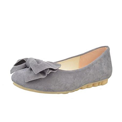 Flats Ballet Toe ANDAY Grey Suede With Round Decor Bow Casual Girl Women qw0S6