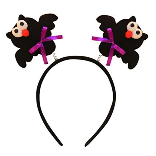 (Clearance Sale! Baby Halloween LED Hairband for Girls, Iuhan Happy Halloween Pumpkin Face Bat Headband Glow Headwear Accessories Photography Props Gifts)