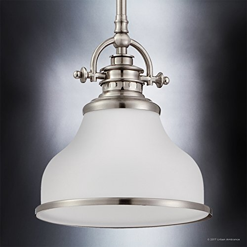 Luxury Industrial Pendant Light, Small Size: 9.5''H x 8''W, with Americana Style Elements, Nostalgic Design, Pretty Brushed Nickel Finish and Opal Etched Glass, UQL2336 by Urban Ambiance by Urban Ambiance (Image #2)