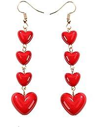 """Best Wing Jewelry""""Red Heart"""" Drop Dangle Fish Hook Earrings"""
