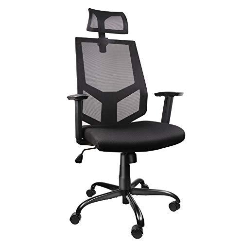 High Back Ergonomic Office Chair Mesh Desk Chair with Adjustable Headrest/Neck Support Computer Task Chair Dark Black