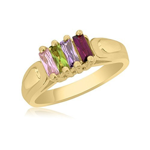 10K Yellow Gold Oval Stone Ring – 4 Birthstone Family Ring by Ice Gold Jewellery Inc