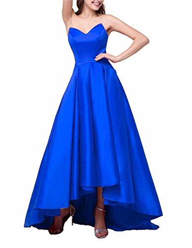 Drehouse Robes De Bal Haut-bas Tutu Sweetheart Femmes Satin Eveing robes Formelles 2018 Bleu Royal
