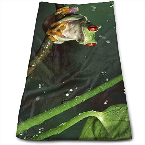 Nature Rain Hylidae Jungle Animals Frogs Multi-Purpose Microfiber Towel Ultra Compact Super Absorbent and Fast Drying Sports Towel Travel Towel Beach Towel Perfect for Camping, Gym, ()
