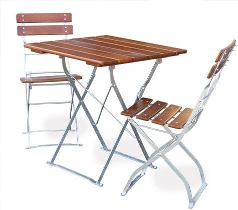 EuroLiving - Mobiliario para jardín (1 mesa, 70 x 70 cm, 2 sillas, galvanizado), color marrón: Amazon.es: Jardín
