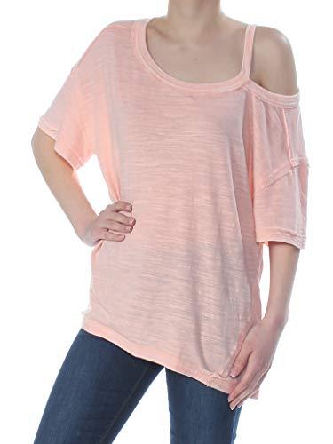 Free People Womens Alex Cold Shoulder Slub T-Shirt Pink M
