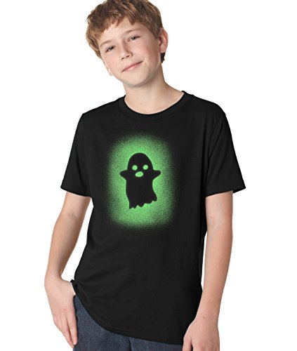 Youth Glowing Ghost Glow In The Dark Tshirt Cool Halloween Costume Tee (black) XL