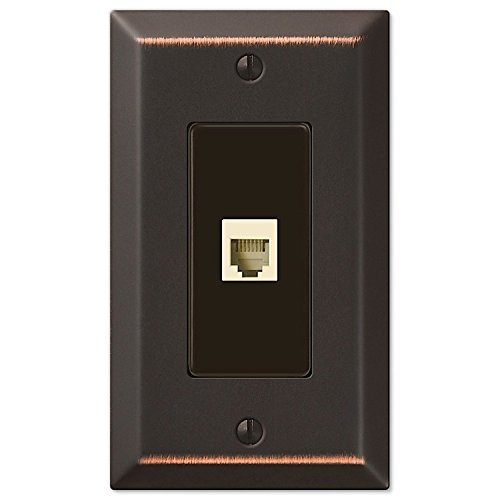 Century Aged Bronze 1 Phone Jack with Hardware (Phone Jack Wall Plate)