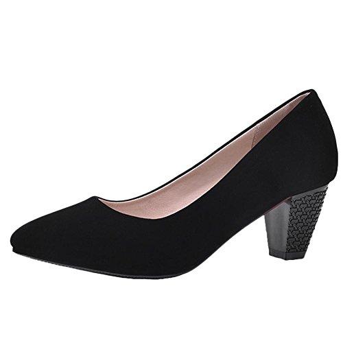 Carolbar Women's Fashion Chic Block Mid Heel Solid Color Court Shoes Black Snt4d9nP