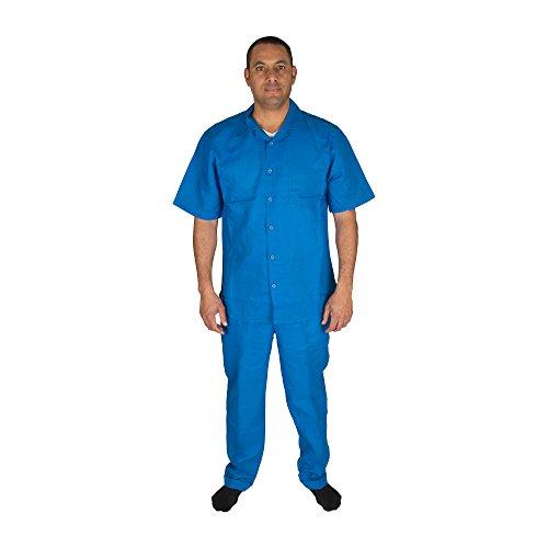 Vittorino Men's 100% Linen 2 Piece Walking Set With Long Pants and Short Sleeve Shirt, Royal, XXX-Large 44-33 ()