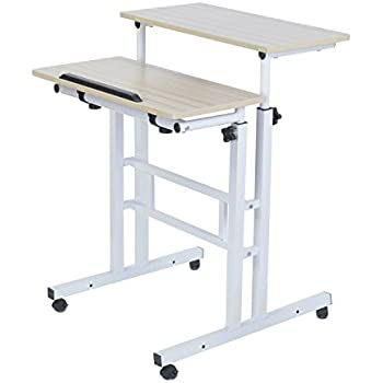 Adjustable Standing Desk Height Mobile Stand Up Desk Computer Workstation - With Standing and Seating 2 Modes Fit laptop and Computer Monitors - Stand Up Laptop Cart Mobile PC Work Station