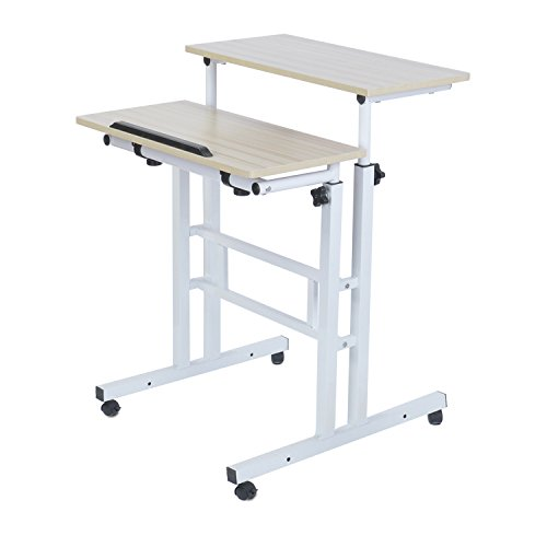 Adjustable Standing Desk Height Mobile Stand Up Desk Computer Workstation - With Standing and Seating 2 Modes Fit laptop and Computer Monitors - Stand Up Laptop Cart Mobile PC Work Station - Standing Computer Cart