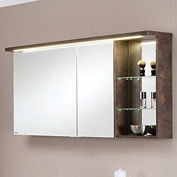 Badezimmer 120cm Bad Spiegelschrank Metallic braun Badpiegel ...