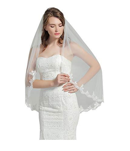 Wedding Bridal Veil with Comb 1 Tier Lace Applique Edge Fingertip Length 41