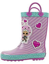 Girls Rainboots, Fancy and Fresh, 100% Rubber, Waterproof with Easy-on Handles, Ages 2 to 10