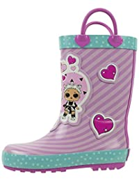 L.O.L. Surprise! Girls Rainboots, Fancy and Fresh, 100% Rubber, Waterproof with Easy-on Handles, Ages 2 to 10