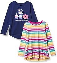 Amazon Brand - Spotted Zebra Girl's Toddler & Kids 2-Pack Long-Sleeve Tu