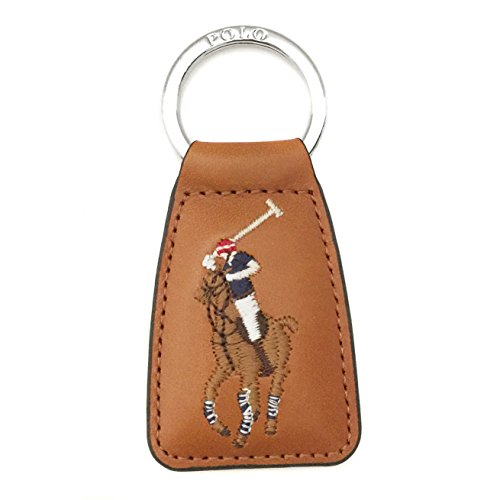 Polo Ralph Lauren Multi-Color Big Pony Key Chain Fob Leather Tan