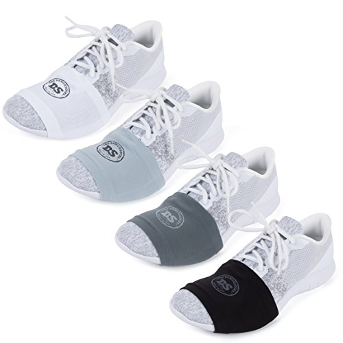 THE DANCESOCKS - Over Sneaker Socks for Dancing on Smooth Floors (4 Pairs - Black, Dk. Grey, Lt. Grey, White)