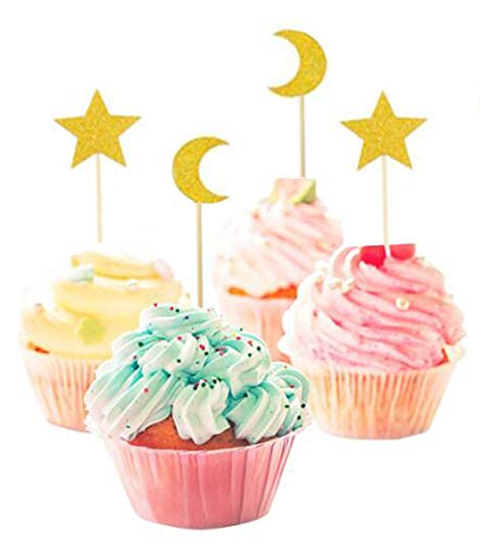 40 Pack of Glitter Star and Moon Cupcake Topper Picks for Birthday Party Wedding Baby Shower Favors (gold star and gold moon)